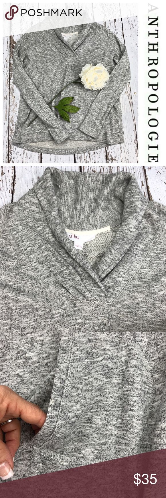 """💕SALE💕Anthropologie Gray Tweed Hi Low Sweatshirt 💕Anthropologie Gray Tweed Hi Liw Sweatshirt with Pockets and Collared 25"""" from the top of the shoulder to the bottom in front 28"""" from the top of the shoulder to the bottom in back 20"""" from armpit to armpit 28"""" Sleeve Length Anthropologie Sweaters"""