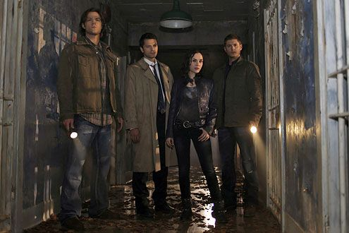 "Supernatural - ""Caged Heat"" - Jared Padalecki as Sam, Misha Collins as Castiel, Rachel Miner as Meg and Jensen Ackles as Dean"