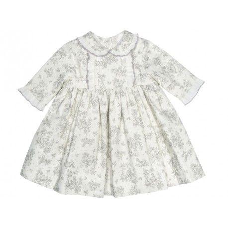 El vestido más coqueto. Vestido de flores grises para bebé de la Marca Sprint en Vestidos para Bebé. La mejor ropa para bebé online  www.pepaonline.com