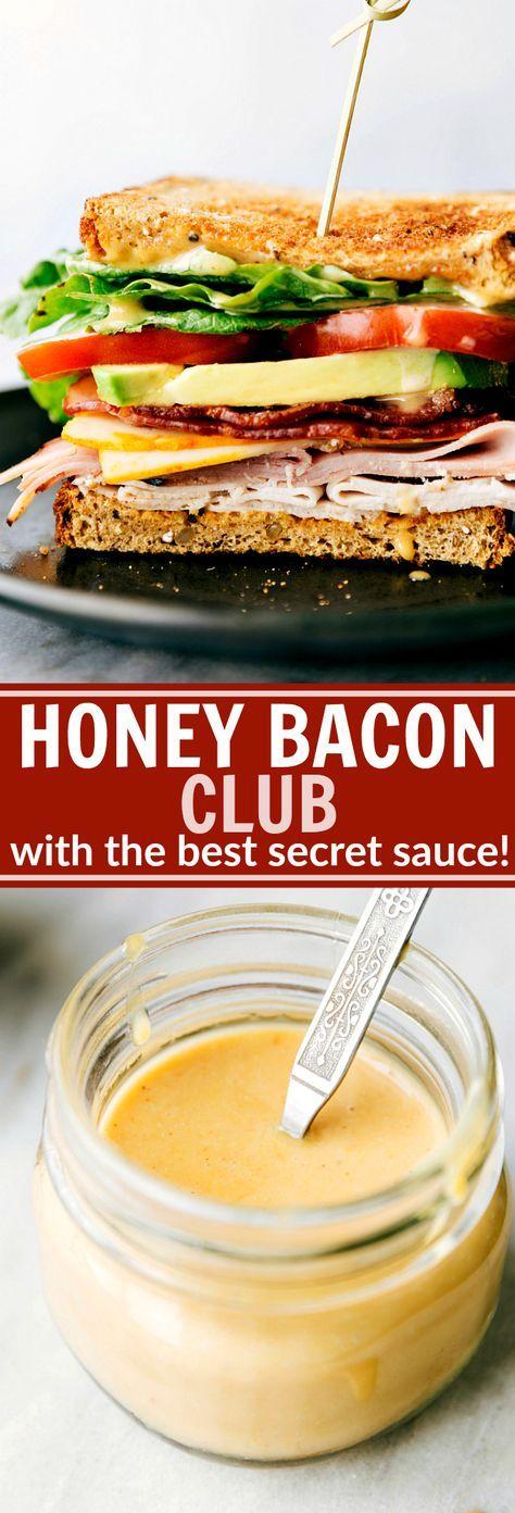 Honey Bacon Clubs -- toasted bread, crisp fresh veggies, smoked turkey, honey ham, center-cut bacon, muenstercheese, and the most incredible SECRET INGREDIENT honey mustard spread! via chelseasmessyapro...