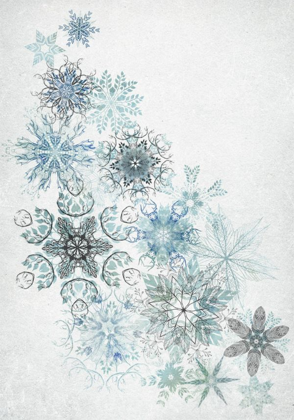 By David Fleck -Inspired by fragments of woodlands and nature, these hand drawn snowflakes are comprised of complex mixtures of leaves, berries, feathers and antlers.