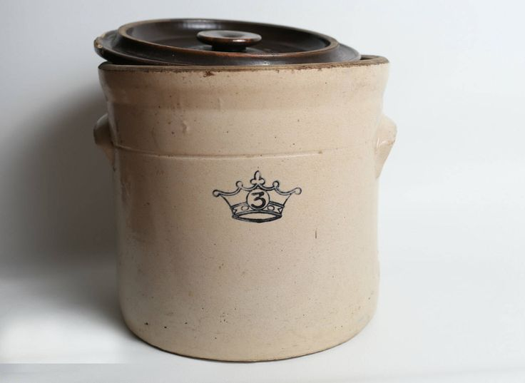 Stoneware Crock, Antique Stoneware Crock, 3 Gallon Crock, Crock with Lid by Roamads on Etsy https://www.etsy.com/listing/503713656/stoneware-crock-antique-stoneware-crock