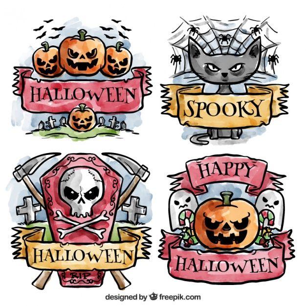 emblemas do dia das bruxas assustador pintadas com aguarelas Vetor grátis