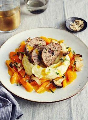 Kartoffelpüree, Möhrengemüse und gebratene Kräuterseitlinge - [ESSEN UND TRINKEN]
