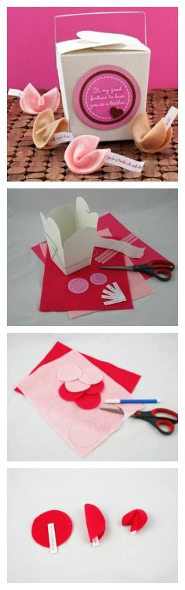 Valentine's Day Felt Fortune Cookies with free printables from Country Woman Magazine