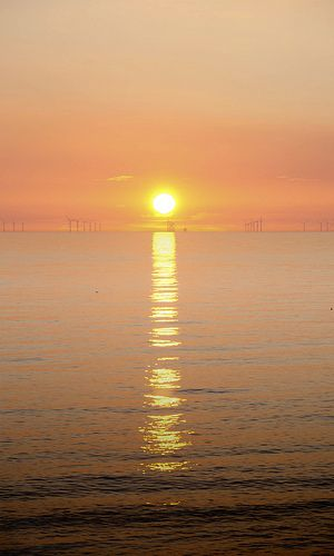 October sun on the Irish Sea and windpower on the horizon ~ Walney Island, Barrow-in-Furness, Cumbria, UK  | Rodger Clark on flickr