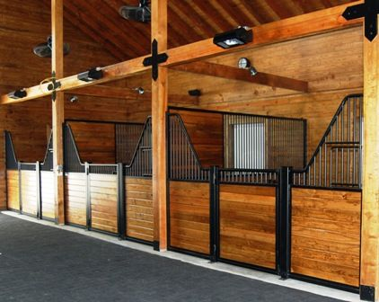 low horse stall fronts for socialization heavy wood posts and wood in the stalls for a rich look lucas equine love these stall designs - Horse Barn Design Ideas