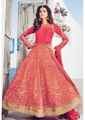 Ethnic Wear Red Art Silk Embroidery Anarkali Suit - 1534