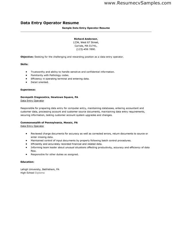 Resume For The Post Of Data Entry Operator - Better opinion