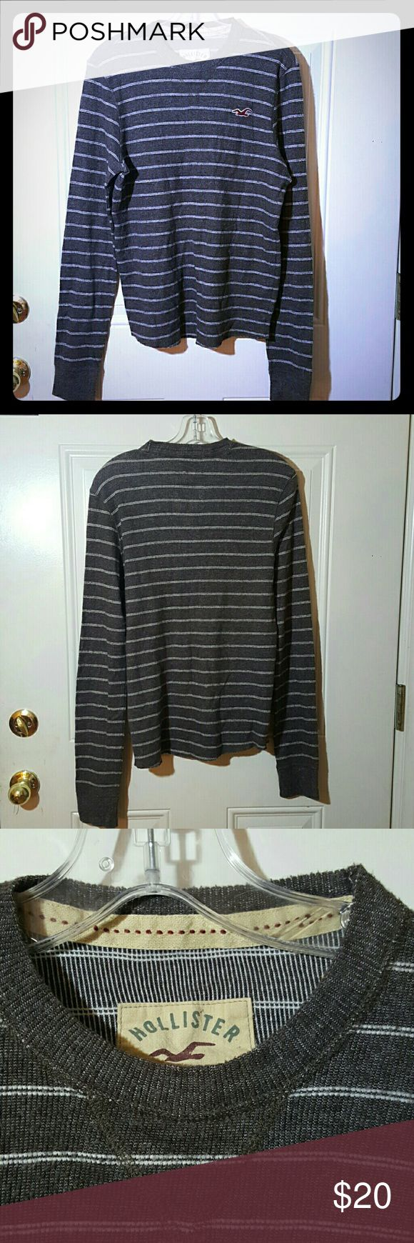 Hollister striped sweater Mens hollister striped sweater  Gray with white stripes Size L  Thin sweater perfect for spring/summer on a chilly or windy day! ( or night!)   In excellent condition. Hollister Sweaters