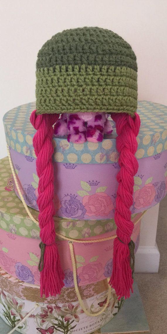 Klaar om te verzenden Baby meisje Halloween kostuum pruik hoed groene hoed met hete roze vlechten haak babymeisje hoed Baby douchegift foto Prop CatDKnits