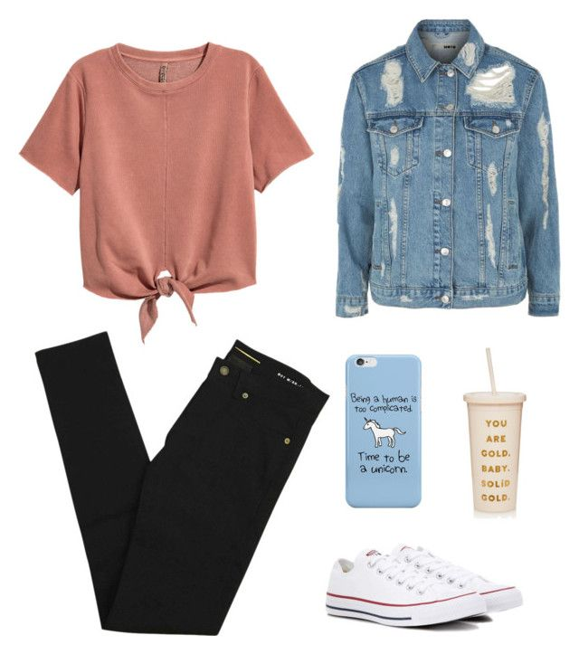 """""""Untitled #44"""" by ipekttl on Polyvore featuring H&M, Yves Saint Laurent, Topshop, Converse and ban.do"""