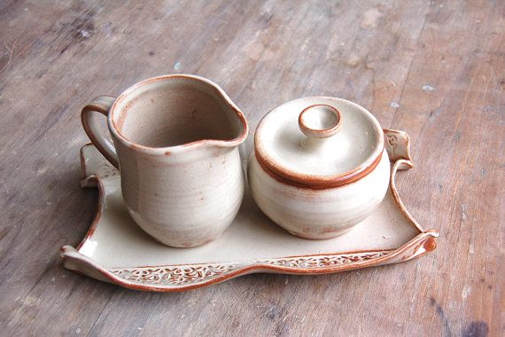 Cream and Sugar Set with Serving Tray in by JenniferBurkePottery,