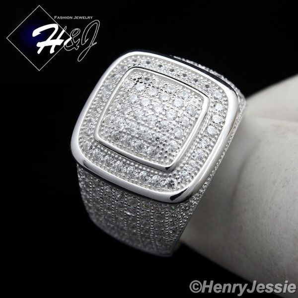 18k  White Gold Luxury ICED OUT CZ Fully Iced Band Mens Bling Ring wedding