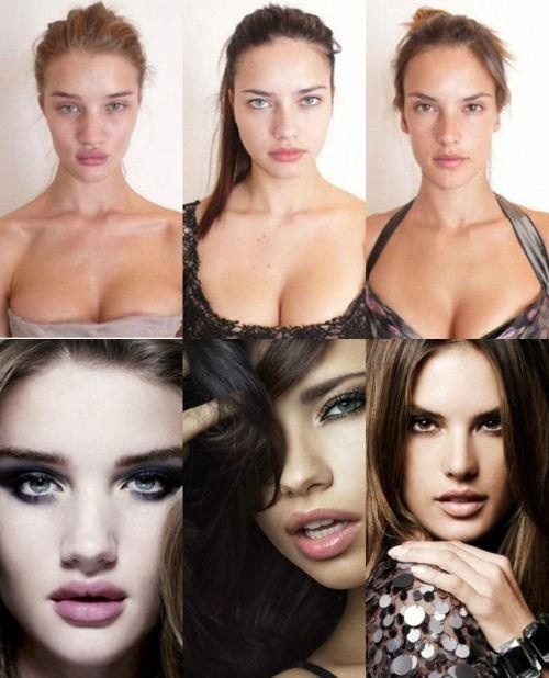 VS Models without makeup, hairstyled, and photoshop. still BEAUTIFUL but proves that no one's perfect.