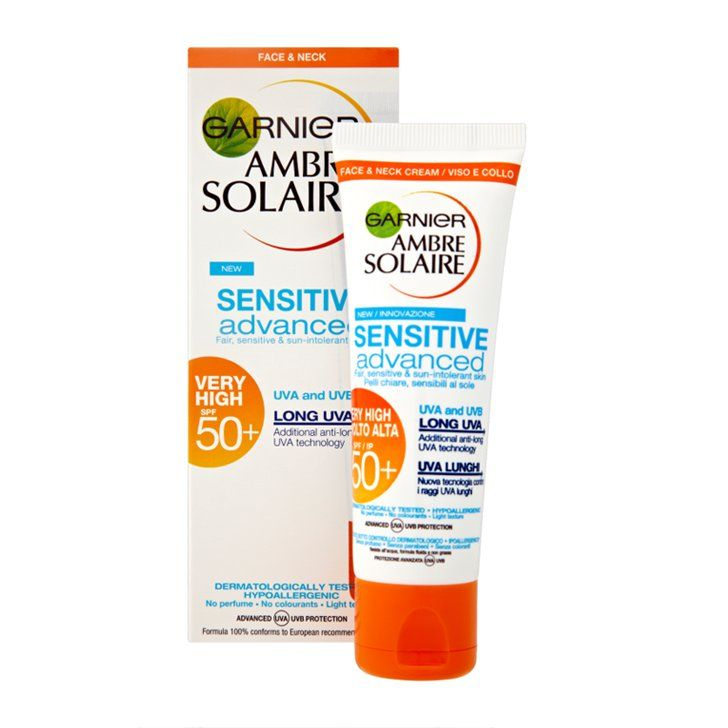 Pin for Later: Your Face Will Thank You For Using These Luxury Sunscreens Garnier Ambre Solaire Face Cream Sensitive Advanced Protect SPF 50+ 50 ml Garnier Ambre Solaire Face Cream Sensitive Advanced Protect SPF 50+ 50 ml (£13)