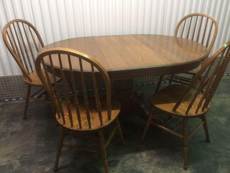 Delightful 5 Pieces Pedestal U0026 Chairs Table U0026 Oak Street Furniture Round Oval W/ Leaf #