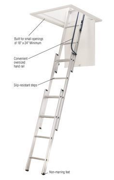 Werner 7 ft. - 9 ft., 18 in. x 24 in. Compact Aluminum Attic Ladder with 250 lb. Maximum Load Capacity-AA1510B at The Home Depot