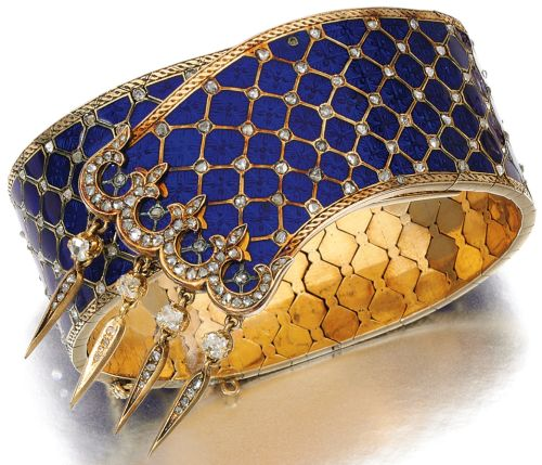 Victorian Diamond & Enamel Bracelet #Bracelets #Antique
