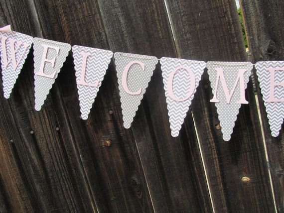 Pink and Grey Baby Shower Banner Baby by twogirlspaperdesign