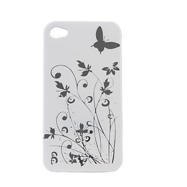 mooie bloem patroon beschermhoes voor iPhone 4 (wit) – € 2.31
