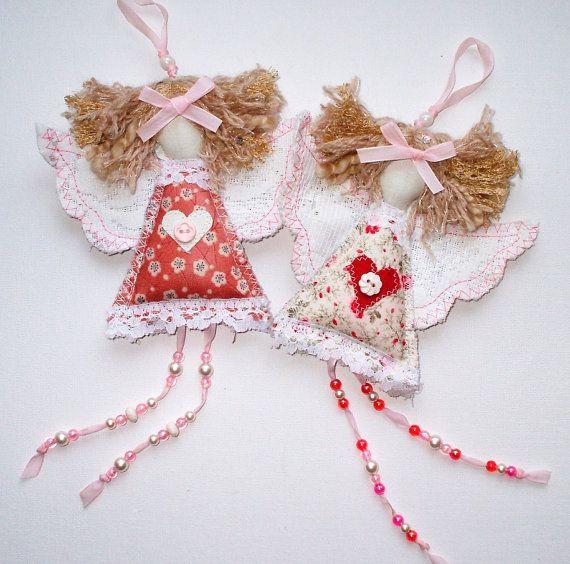 Baptism Angel Textile Ornament. Shabby Chic Fabric by SwinkyDoo