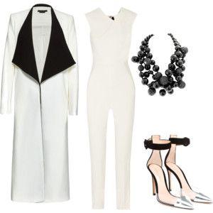 """""""alternative bride. jumpsuit + coat"""" by anitatxu on Polyvore"""