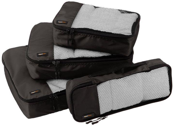 AmazonBasics 4-Piece Packing Cube Set - Small, Medium, Large, and Slim, Black: Amazon.ca: Luggage & Bags