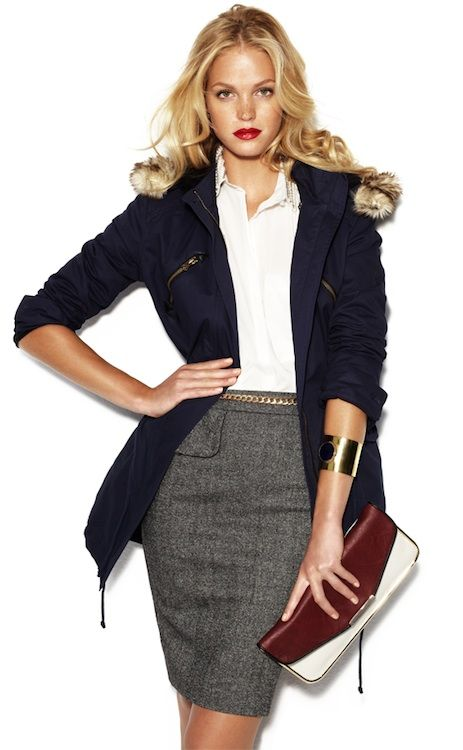 Proof woman can stay stylish at work. Navy Coat + White Button Down + Grey Skirt + Metallic Cuff.