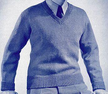 Free Crochet Pattern V Neck Pullover : V-Neck Pullover knit pattern originally published in Knit ...