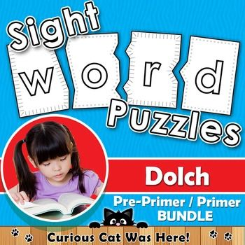 Sight Word Printable Puzzles - BUNDLE includes both Dolch pre-primer and primer words.  Make learning sight words fun!  #sightwords