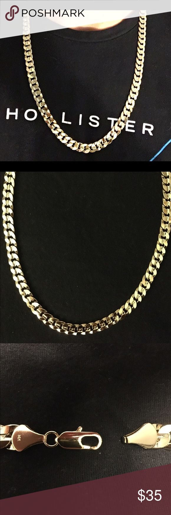 Gold Chain 14k stamped 24in 10mm Cuban WAS $60 NOW $35 FOR LIMITED TIME!                    Limited Quantity. Get yours Now! High quality 14k gold filled Cuban Chain Chain is: Stamped 14k • 10mm  • 24in • Gold filled with real gold. Gold filled is a thick layer of real gold. It is more valuable then plating and does not fade away or tarnish like plating. • High quality and durable.  Has good weight to it. • Packaged well and handled with care. • Shipped within the same or 1 day  • Delivered…