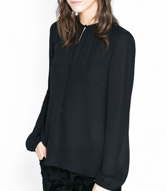 Soft blouse with the drop neck