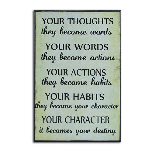 """African American Expressions - Your Thoughts, Words, Actions, Habits, Character Wall Plaque (6.3"""" x 10"""" x 0.7"""") CHWP-24"""