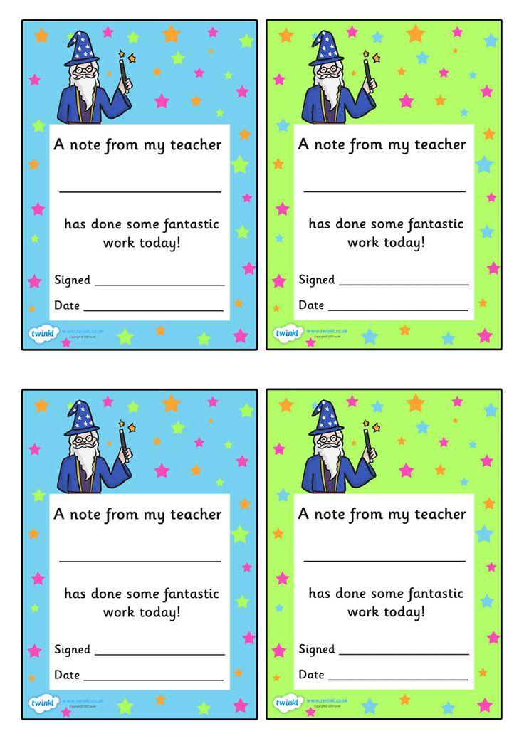 Note From Teacher Wonderful Work- twinkl