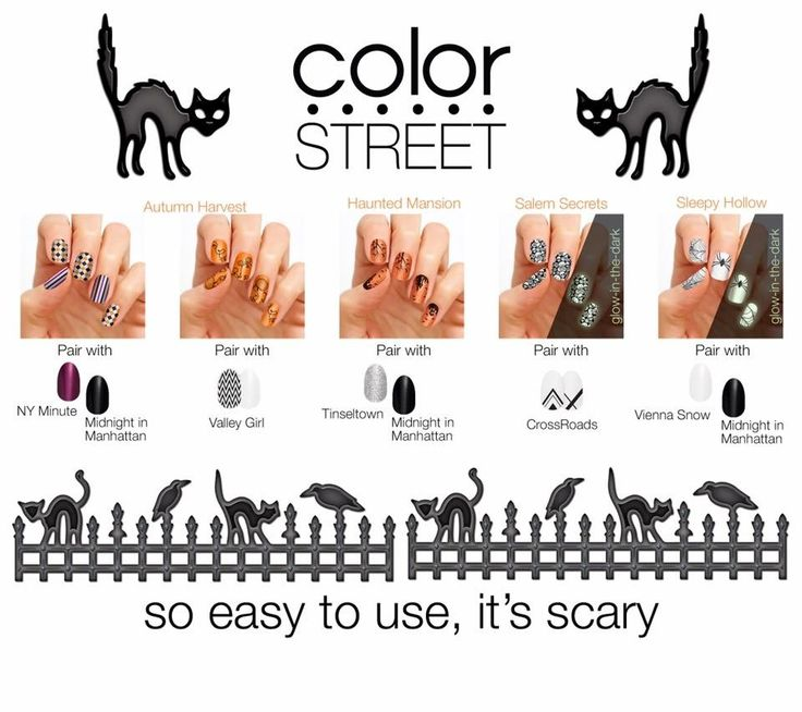 Fun Halloween designs including glow in the dark available now! Color Street 100% nail polish strips