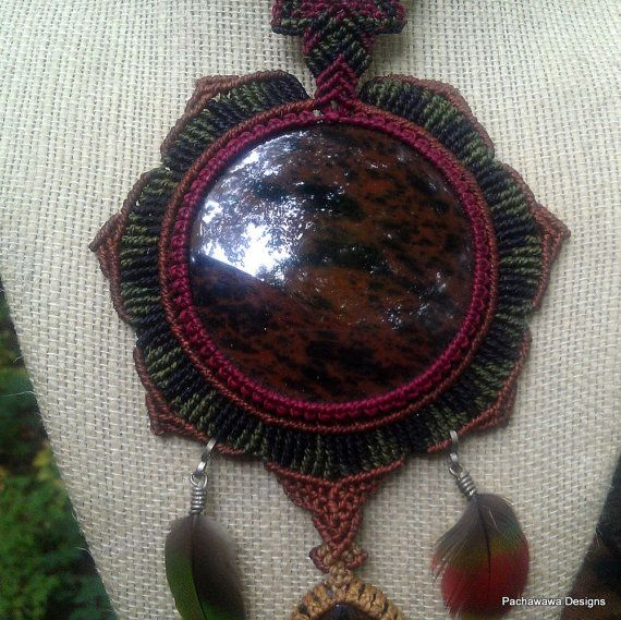 Jungle Wings Large Mahogany Obsidian Necklace with by pachawawa, $170.00
