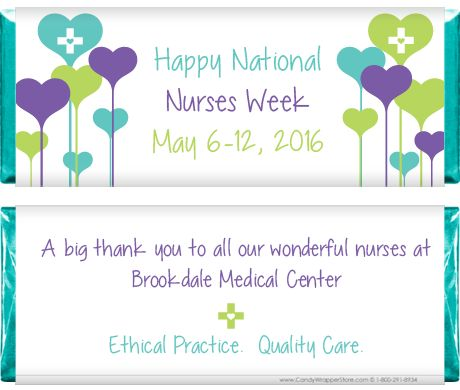 National Nurses Week Heart Balloons Candy Bar Wrappers  http://custom.candywrapperstore.com/national-nurses-week-heart-balloons-candy-bar-wrappers.html