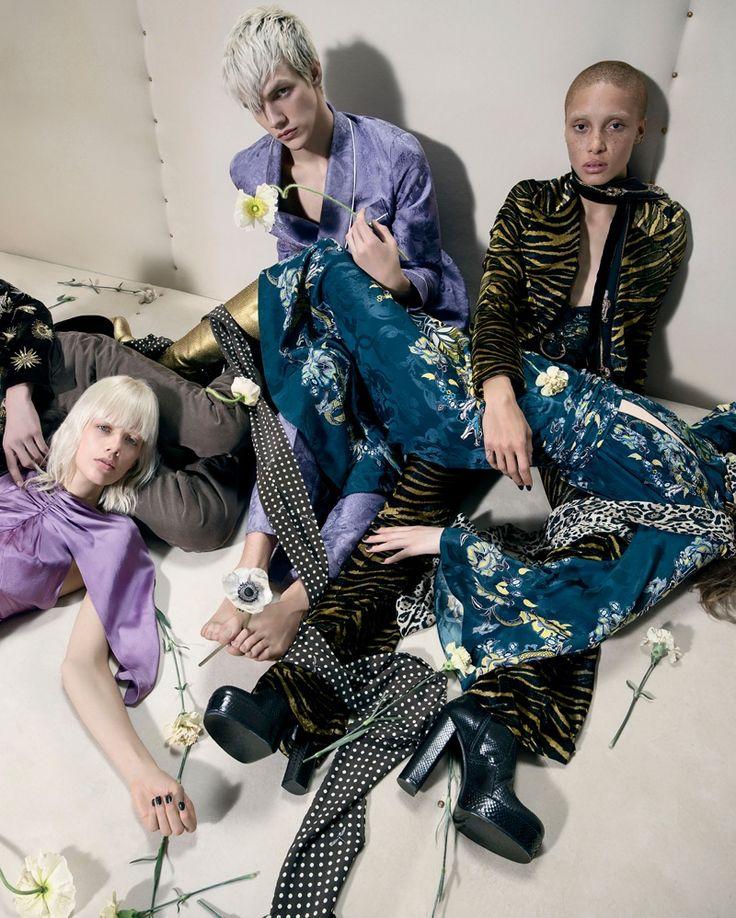 Models lounge in Roberto Cavalli's fall-winter 2016 campaign