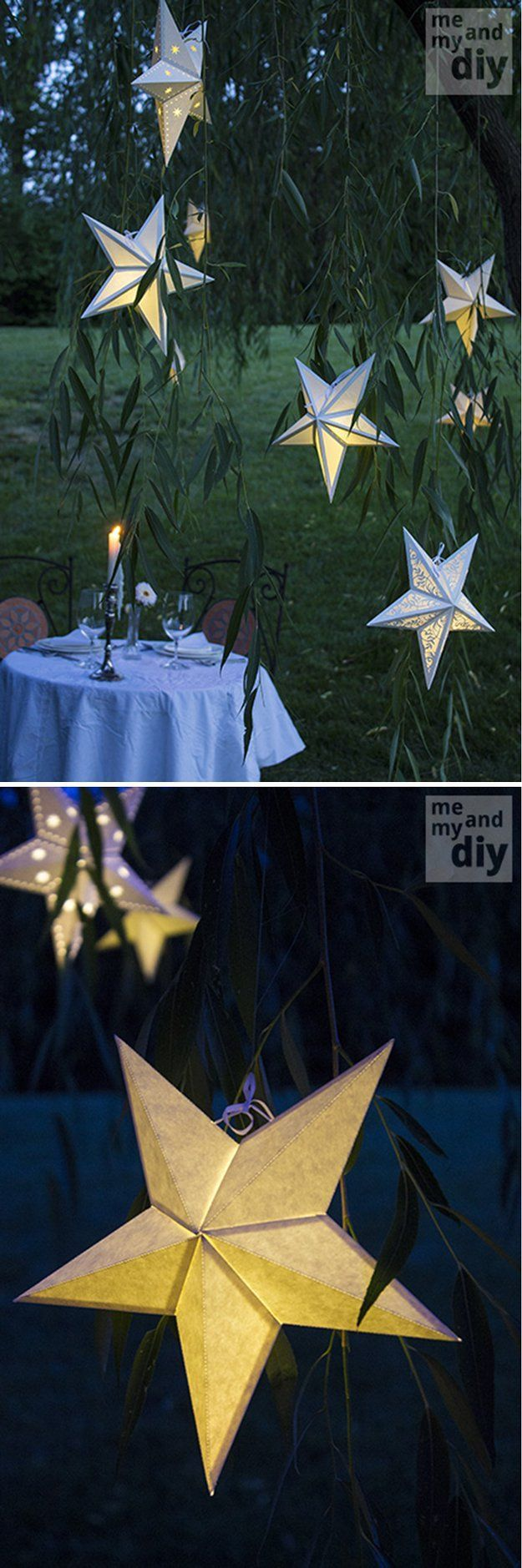 DIY Paper Lantern Ideas and Tutorial | Paper Star Lantern by DIY Ready at http://diyready.com/21-diy-outdoor-lantern-ideas/