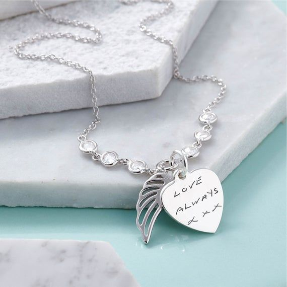 Actual Handwriting Angel Wing Sterling Silver Necklace