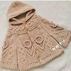 莲依 女童棒针斗篷式连帽开衫外套毛衣-编织人生 [] #<br/> # #Tissue,<br/> # #Ponchos<br/>