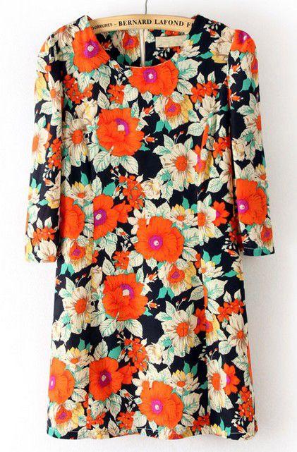 ++ Navy Round Neck Floral Zipper Floral Straight Dress