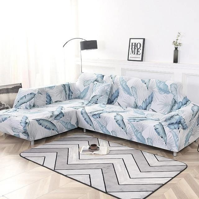 Blue Tropical Leaves Sofa Cover In 2020 Sofa Covers Couch