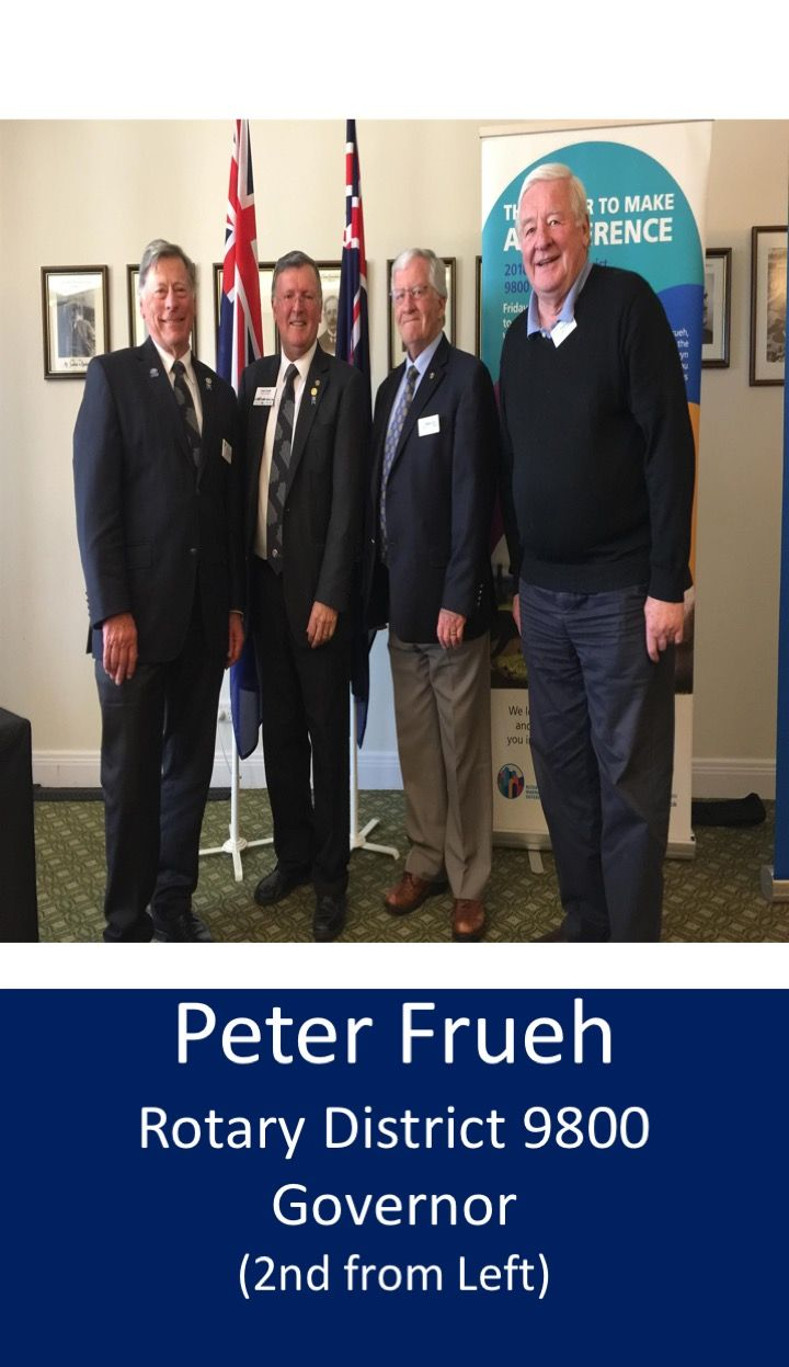 Following lunch Peter Frueh was generous in his praise of Hawthorn Rotary & accomplishments: Hawthorn's 5 Past District Govs, 3 of whom are still active in the club He also thanked several members who are active at District level. Peter related how one Rotarian's initiative had generated $300,000 worth of linen, when the fly-in-fly-out hostels in n-w W.A. were closed, & the donated goods were transferred to Donations In Kind  in Perth & Footscray'