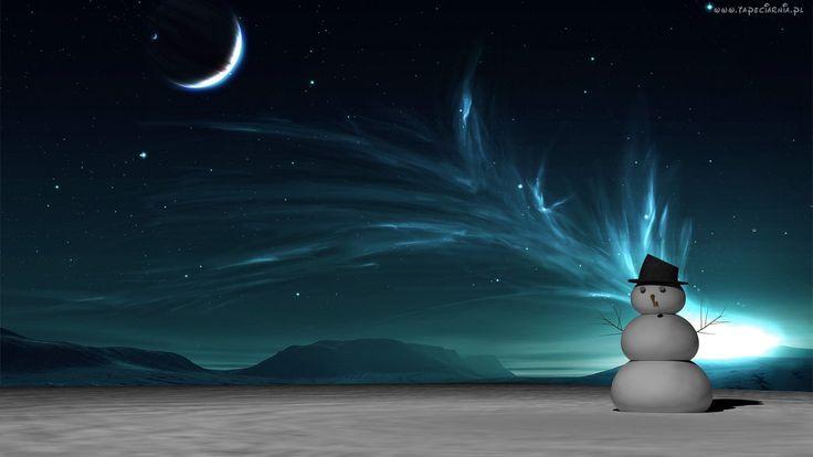 Bałwanek, Zorza Polarna, Zima, Księżyc