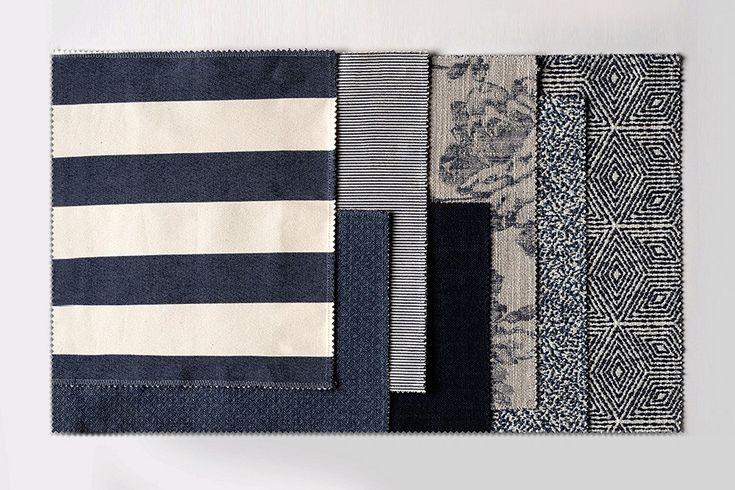 А вот и разрез коллекции: все ткани в оттенке синевы