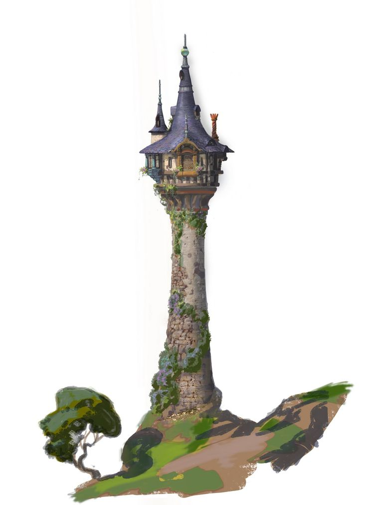 pictures of tangled tower | Rapunzel's Tower. Texture reference painting on top of a drawing done ...
