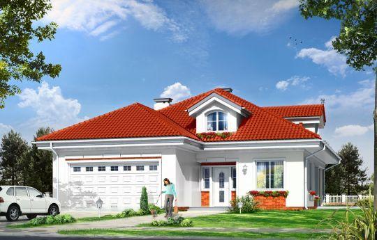 Projekt Afrodyta to parterowy dom jednorodzinny, przeznaczony dla czterech osób. Projekt domu o prostokątnej bryle, z wciętym tarasem i wystającym częściowo garażem. Dom przekryty jest kopertowym dachem kryjącym obszerny strych z lukarnami, mogący służyć po zaadaptowaniu jako poddasze. Architektura domu cieszy oko właściwymi proporcjami, ludzką skalą budynku i starannym detalem wykończenia. Domek dedykowany jest na dość wąskie działki, lub parcele mające ogród z boku.