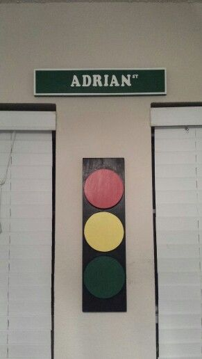 Wood street sign and stop light for boys cars / transportation room.